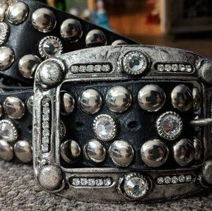 Leatherock Black, Silver and clear Swarovski Belt